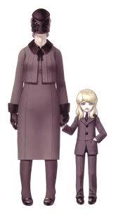 """Un enfant mystérieux, vêtu de noir, accompagné par une vieille femme en noir au visage voilé.   La femme parle à la place du garçon.   C'est lui qui offre le Magatama et il surveille les déambulations du héros tout au long du jeu.   Son identité est suggérée dans la fin """"Demon"""" et avouée dans la fin """"True Demon""""."""
